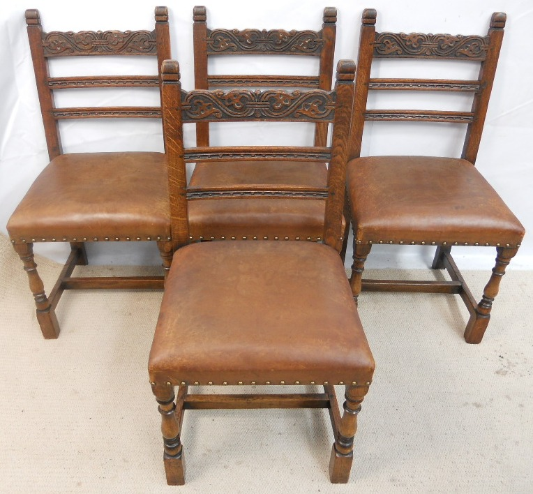 Set of Four Carved Oak Tudor Style Leather Seat Dining Chairsu003d SOLD & Set of Four Carved Oak Tudor Style Leather Seat Dining Chairs SOLD